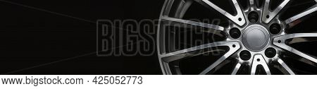 An Alloy Wheel Banner Fragment On A Black Background. Mockup For The Panorama Site Header. Car Tunin
