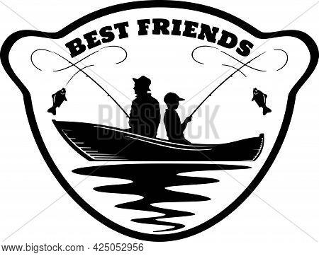 Fishing Logo - Friendship, Fishermen, Companions - Template Club Emblem. Fishing Theme Vector Illust