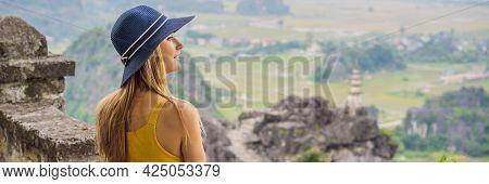 Banner, Long Format Woman Tourist On Top Pagoda Of Hang Mua Temple, Rice Fields, Ninh Binh, Vietnam.
