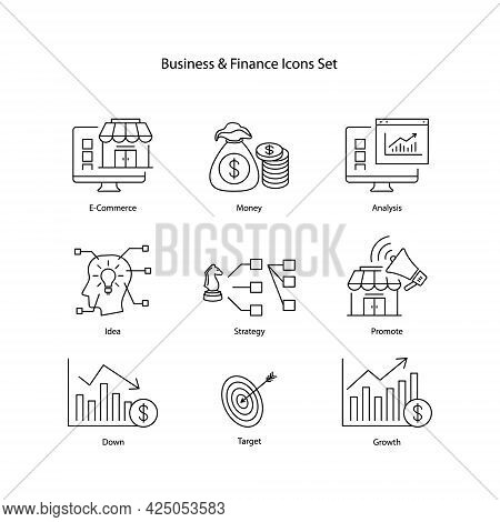 Vector Illustration Icons Set Of Business And Finance On White Background.