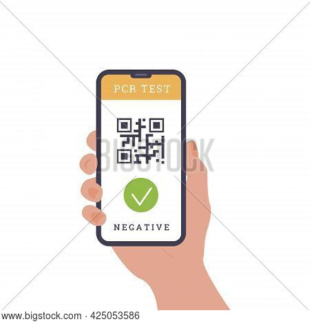 Concept Of Travelling During Coronavirus. Person Holding A Phone. An App With Qr Code As Proof Of Pr