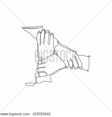 Concept Of Unity, Teamwork, Charity, Cooperation And Partnership One Line Art
