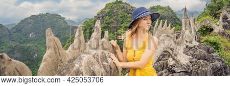 Banner, Long Format Woman Tourist On Background Of Amazing Huge Dragon Statue At Limestone Mountain