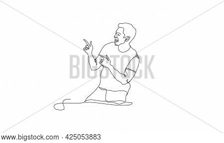 Side View Portrait Of Smiling Young Handsome Continuous One Line Art Drawing