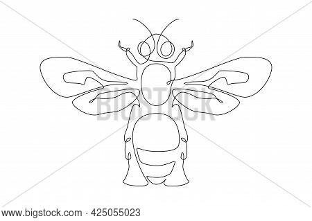 Continuous One Line Drawing Of Honey Bee. Bumblebee And Wasp Farm Icon In Simple Linear Style. Edita