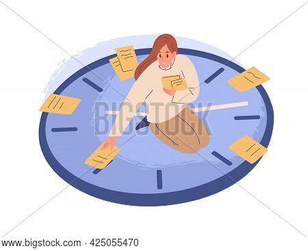 Person Sitting On Clocks, Organizing Time, Planning Tasks And Scheduling. Concept Of Effective Self-