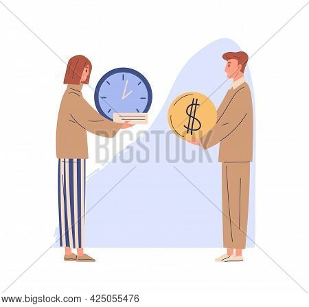 Concept Of Exchanging Time For Money And Getting Salary For Work. Woman With Clocks And Man Holding