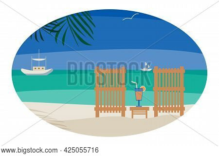 Minimalist Seascape With Sea, Loungers, Palm Leaves And Horizon View. Summer Vacation Concept Vector