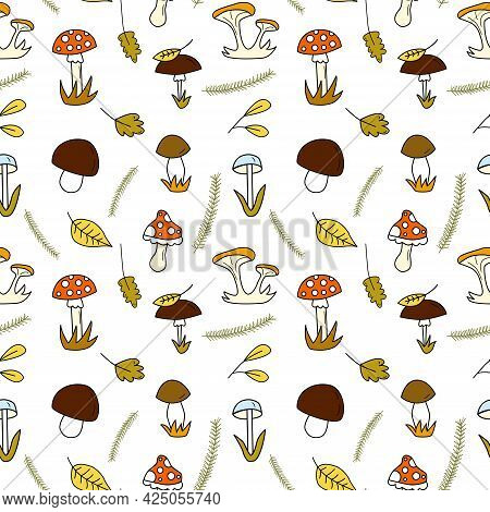 Seamless Doodle Pattern With Forest Mushrooms And Autumn Leaves And Spruce Branches. Hand Drawn Vect