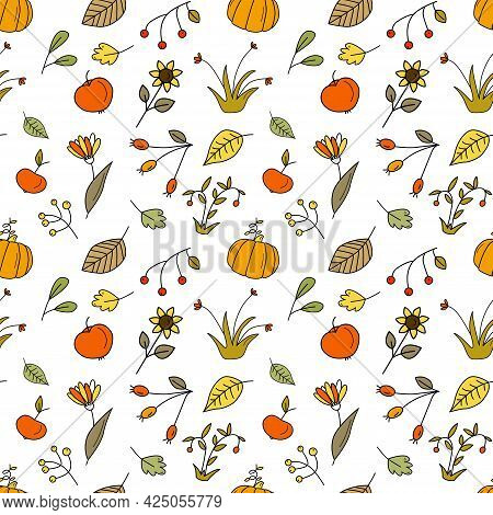 Seamless Pattern With Autumn Apples, Pumpkins And Different Berries In Doodle Hand Drawn Style. Vect
