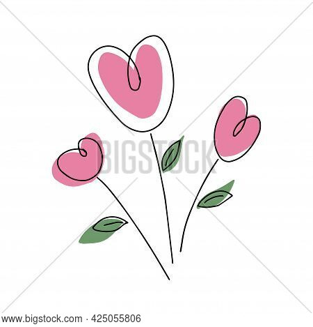 Bouquet Of Pink Hearts With Leaves. Vector Hand Drawn Illustration