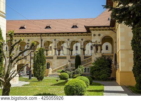 Alba Iulia, Alba, Romania -  May 11, 2021: The Coronation Cathedral Courtyard Inside Alba Carolina F