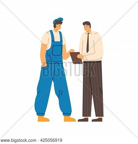Boss And Repairman Talking And Discussing Work. Communication Of Office Worker With Clipboard And Me