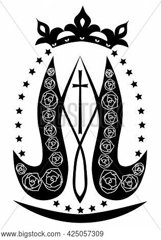 Ave Maria. Monogram Of The Blessed Virgin Mary With Crown, Cross And Stars. Religious Signs. Vector