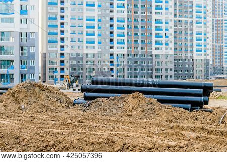 Daejeon; South Korea; June 20, 2021: Large Pvc Pipes Stacked At Construction Site In Sintanjin Dong.