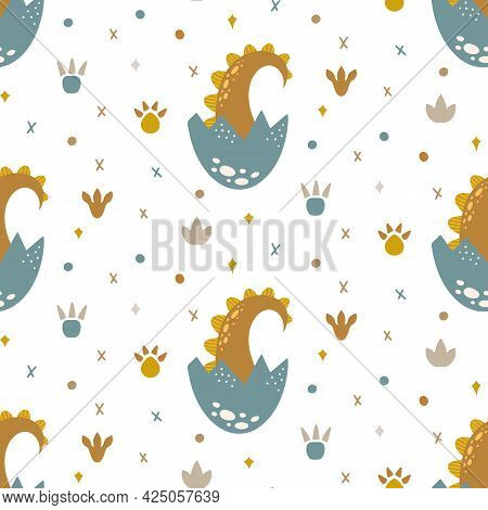 Cute Dinosaur Seamless Pattern Cartoon Baby Dino Nursery Print