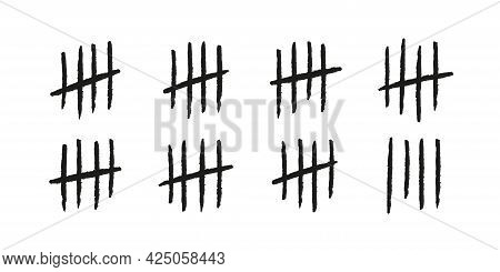Tally Marks. Hand Drawn Lines Or Sticks Sorted By Four And Crossed Out. Simple Mathematical Count Vi