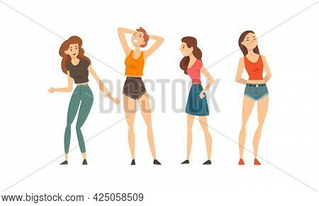 Happy Smiling Girl As Best Friends Spending Time Together Talking And Gossiping Vector Set