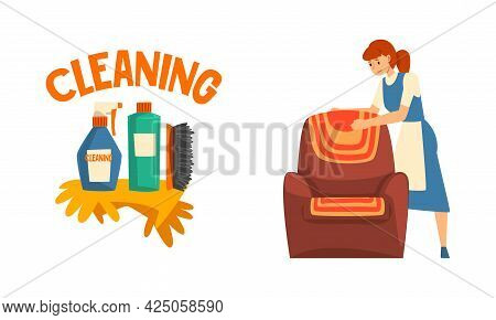 Cleaning Service With Woman In Apron Working And Detergents Vector Set