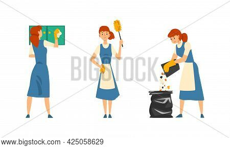 Cleaning Service With Woman In Apron Working Discard Rubbish And Dusting Vector Set
