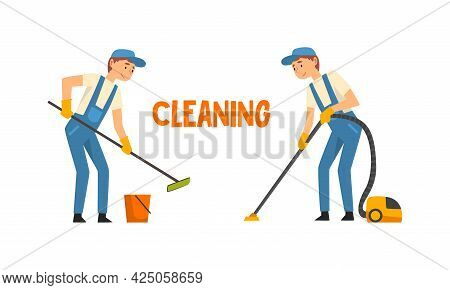 Cleaning Service With Man In Blue Overall And Rubber Gloves Working Mopping And Vacuuming Floor Vect