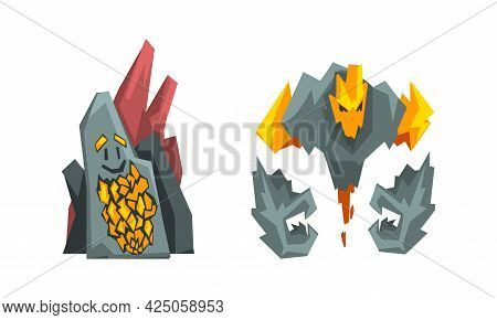 Stone And Rock Fantastic Elemental Creature Vector Set