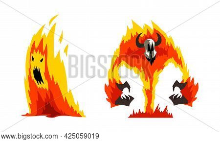 Roaring Fire With Horns As Fantastic Elemental Creature Vector Set