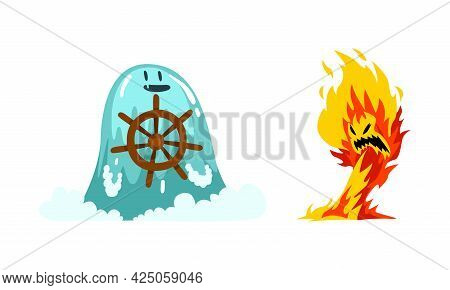 Roaring Fire And Water Fantastic Elemental Creature With Steering Wheel Vector Set