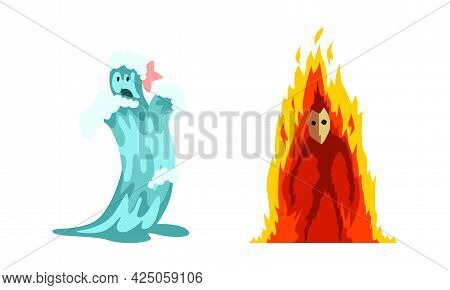 Roaring Fire And Water As Fantastic Elemental Creature Vector Set