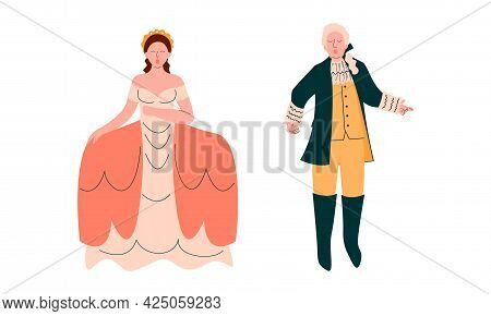 Opera Singer In Theatrical Garment Performing On Stage Vector Set