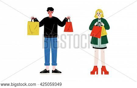 Man And Woman With Shopping Bags Making Purchase In Shopping Mall Vector Set