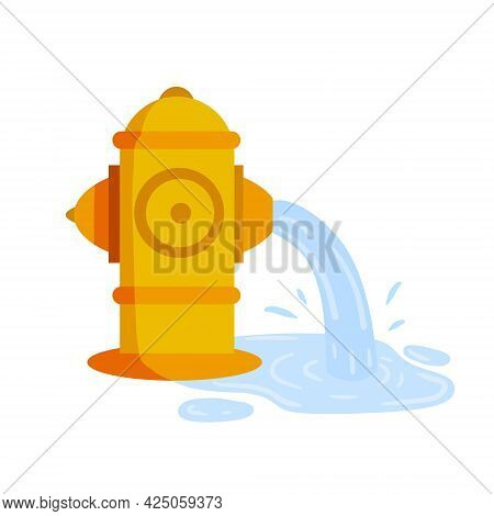 Fire Hydrant. Flat Cartoon Illustration. Yellow Icon Of Fire Fighting Tool. Jet Of Water. Leak And P