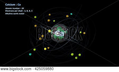 3d Illustration Of Atom Of Calcium With Core And Its 20 Electrons With A Black Background
