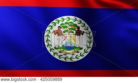 3d Illustration Of Large Flag Of Belize Island Fullscreen Background In The Wind With Wave Patterns