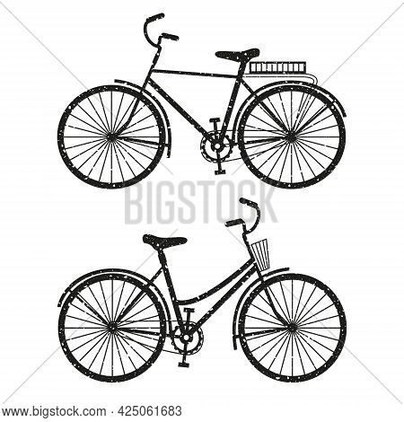 Two Bicycles For Men And Women Set. Vector Monochrome Shabby Texture Illustration Isolated On White