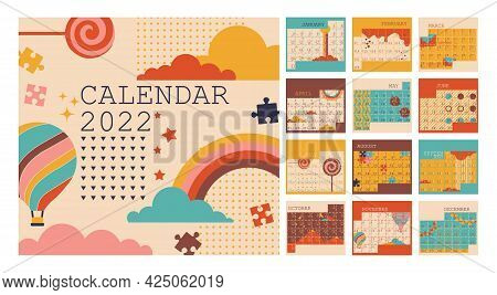 Calendar 2022, Planner Organizer, Monday Week Start, Vertical Layout, Set For 12 Months From January