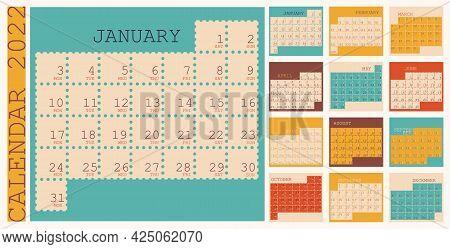 Calendar 2022, Organizer Planner Template, Week Starts On Monday, Vertical Layout, Set Of 12 Months