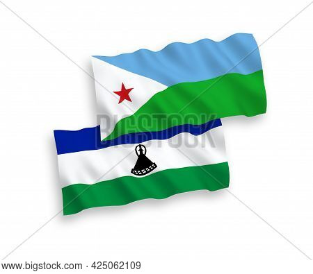 National Fabric Wave Flags Of Republic Of Djibouti And Lesotho Isolated On White Background. 1 To 2