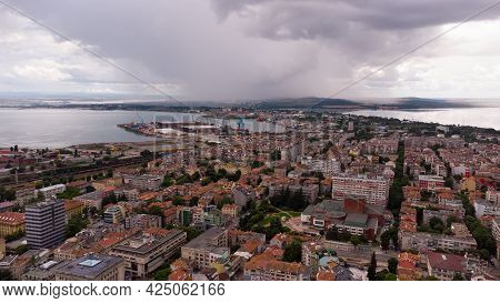 Dark Stormy Cloudscape Over The City Of Burgas, Bulgaria.