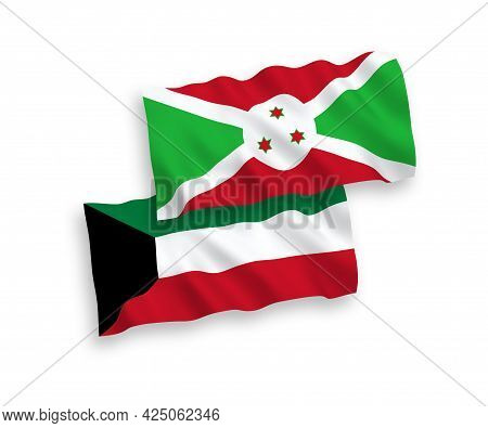 National Fabric Wave Flags Of Burundi And Kuwait Isolated On White Background. 1 To 2 Proportion.