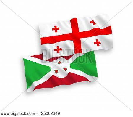 National Fabric Wave Flags Of Burundi And Georgia Isolated On White Background. 1 To 2 Proportion.