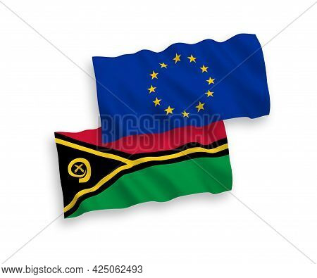 National Fabric Wave Flags Of European Union And Republic Of Vanuatu Isolated On White Background. 1