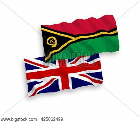 National Fabric Wave Flags Of Great Britain And Republic Of Vanuatu Isolated On White Background. 1