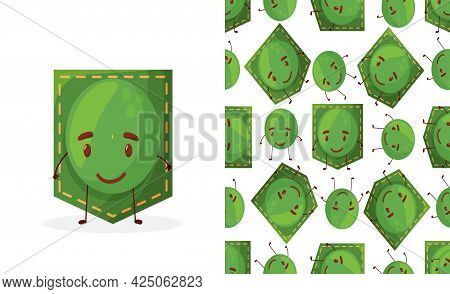 Seamless Pattern Peas Shaped Patch Pocket. Character Pocket Peas. Cartoon Style. Design Element.