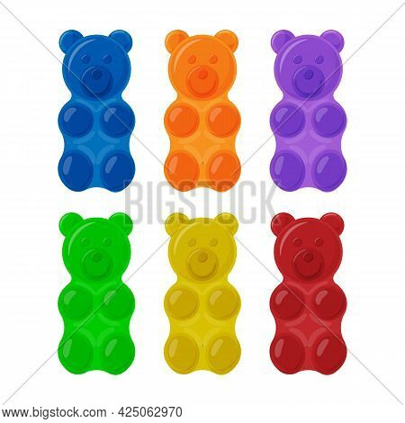 Colorful Gummy Bears Set. Bright Jelly Sweets Vector Illustration Isolated On White.