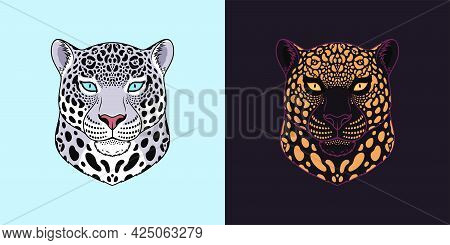 White And Black Jaguar Head With Blue And Golden Eyes, Isolated Jaguar Face. Panther, Predatory Wild