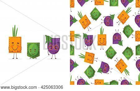 Seamless Pattern Egglant Peas Onion Shaped Patch Pocket. Character Pocket Egglant Peas Onion. Cartoo