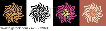 Abstract Calligraphic Flower Ornament. Golden Mandala, Lotus And Rangoli, Calligraphic Pattern. Set