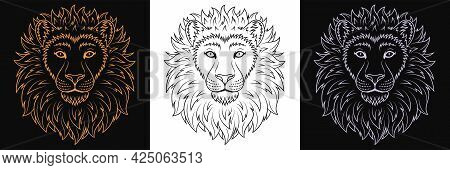 Gold, Black And Silver Lion Head, Set Of Isolated Outline Lion Face. Predatory Wildcat. Lion Silhoue