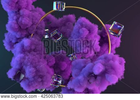 3d Purple Clouds Or Smoke With Glossy Cubes And Golden Round Frame. Abstract Trendy Composition. 3d